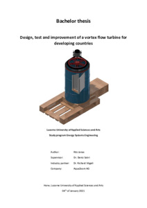 Bild:  Design, test and improvement of a vortex flow turbine for developing countries