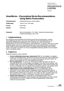 Bild:  WebAbstract SmartMovie – Personalised Movie Recommendations Using Matrix Factorization