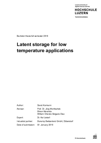 Bild:  Latent storage for low temperature applications